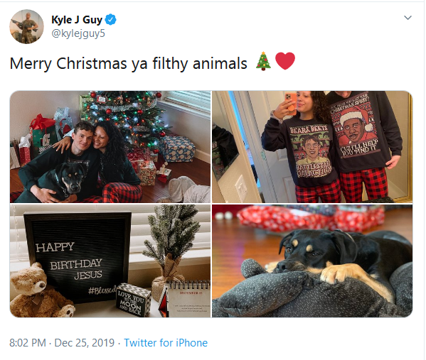 Screenshot_2019-12-29 (20) Kyle J Guy on Twitter Merry Christmas ya filthy animals 🎄❤️ https t co ZI6vaGsWYt Twitter