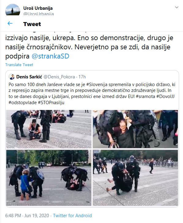 Screenshot_2020-06-20 (5) Uroš Urbanija on Twitter Hvala Bogu, da policija zoper kriminalce in vse, ki izzivajo nasilje, uk[...]